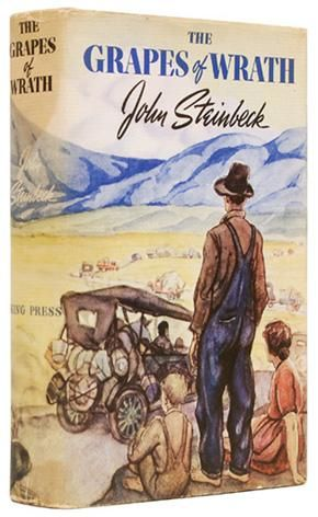 The Grapes of Wrath by John Steinbeck is 75 years old. This is the very first edition, published by Viking in 1939. The dust jacket was illustrated by Elmer Hader.