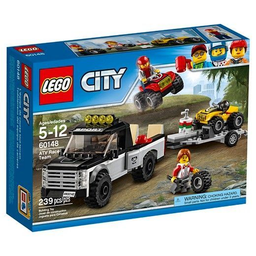 F: LEGO® City Great Vehicles ATV Race Team 60148:<br>Gear up for the big race! Get ready for the next big race with the ATV Race Team, featuring a pickup truck and trailer with adjustable ramps and two ATVs, plus two minifigures. Get ready to race with the LEGO® City ATV Race Team. This set features two ATVs, a pickup truck, trailer hitch, pickup bed with adjustable ramp and a detachable trailer with adjustable ramp, plus helmets, fuel barrel and a spare tire. Includes