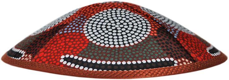 Design kippah from our Dreamtime series. Handmade traditional Jewish head covering. Australian Aboriginal art fabric.