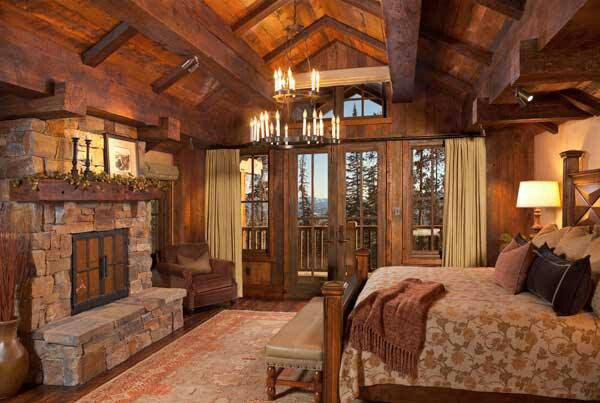 """""""Dream Master Bedroom great for my log cabin""""  On the right, above the bed would be the upper level, again the ceilings would clearly be higher to accommodate it."""