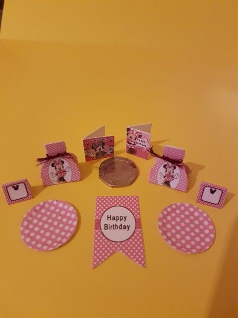 Dolls House Party, Happy Birthday, Mouse, Birthday cards, Minnie, party set 1/12