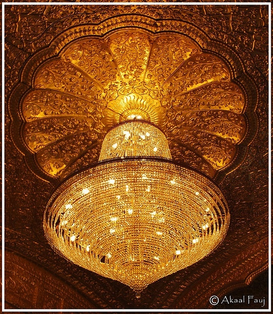 Chandelier at entrance of Sri Darbar Sahib Amritsar (Punjab, India)