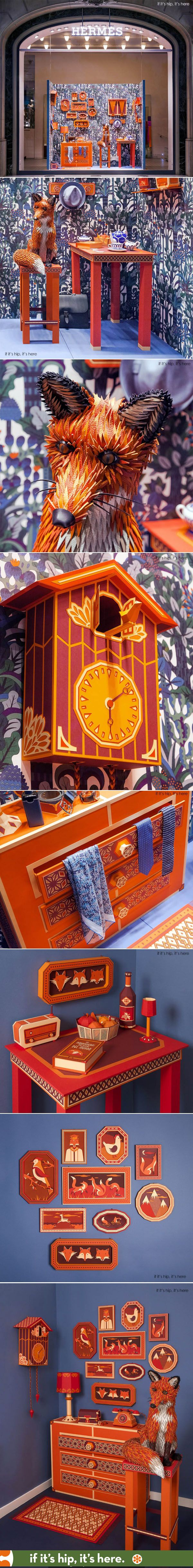 This Hermes window display of a Fox Den was crafted entirely out of paper with a leather fox. More at http://www.ifitshipitshere.com/hermes-window-display-zim-zou-fox-den-paper-leather/