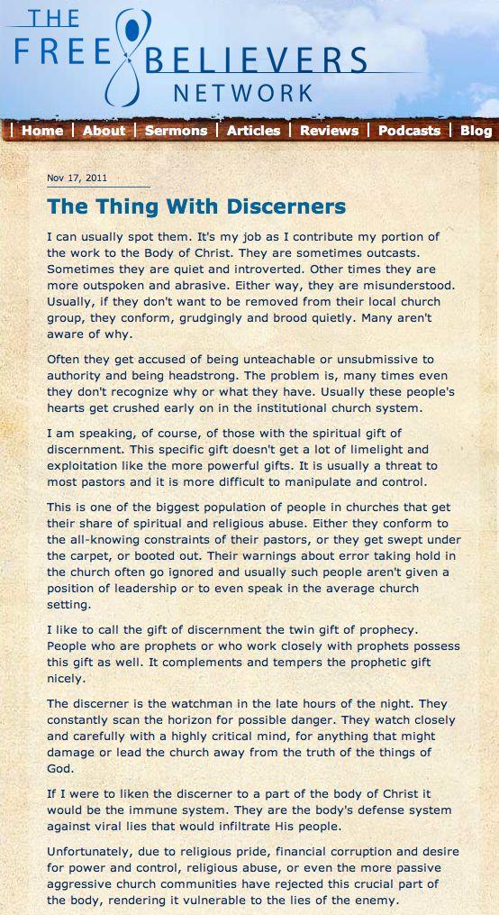 The Misunderstood Gift of Discernment. lasvegasapologetics.wordpress.com