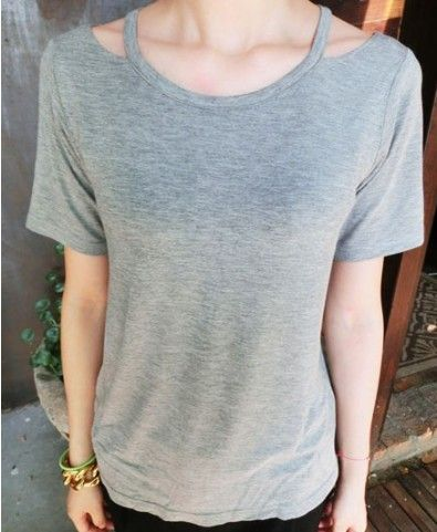 Grey T-shirt with Cut Out Design Neckline