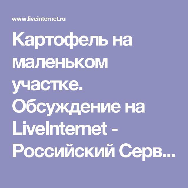 Картофель на маленьком участке. Обсуждение на LiveInternet - Российский Сервис Онлайн-Дневников