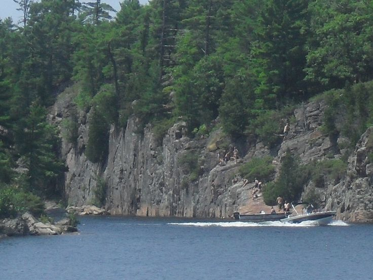 The Hole in the wall on the Georgian Bay Parry sound Ontario as seen from the Island Queen as she makes her way through it