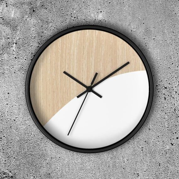 Modern Wall Clock Minimalistic Design Wall Clock On Wooden Background Scandinavian Clock Can Be Personalized Making It A Perfect Gift In 2020 Wall Clock Modern Scandinavian Clocks Wall Design