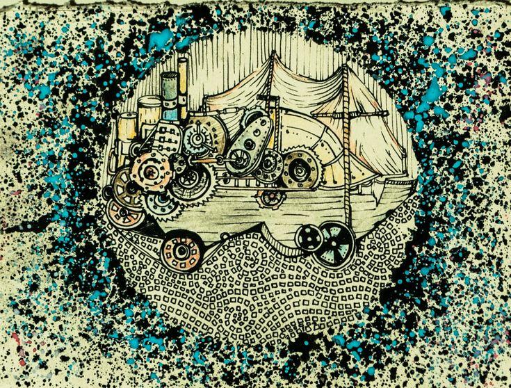 #steampunk #ship #traditional illustration #ship #machine