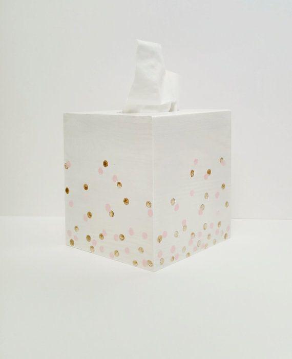 Tissue box cover Polka dot Tissue box Kleenex box by CottageWall