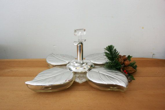 vintage 50s Mid Century Holiday Entertaining Nut and Candy Leaf Pattern Plastic Lucite Serving Tray