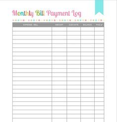 Free Printable - Monthly Bill Payment Log Shared by Pinterest.com/wordofmom