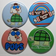 TOOTSIE ROLL MAGNET SET Turtle and Owl Candy Ad Vintage Rolls Lollipop Pop Art
