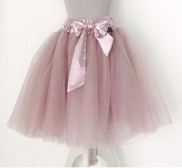 Falda tutu largo rosa empolvado