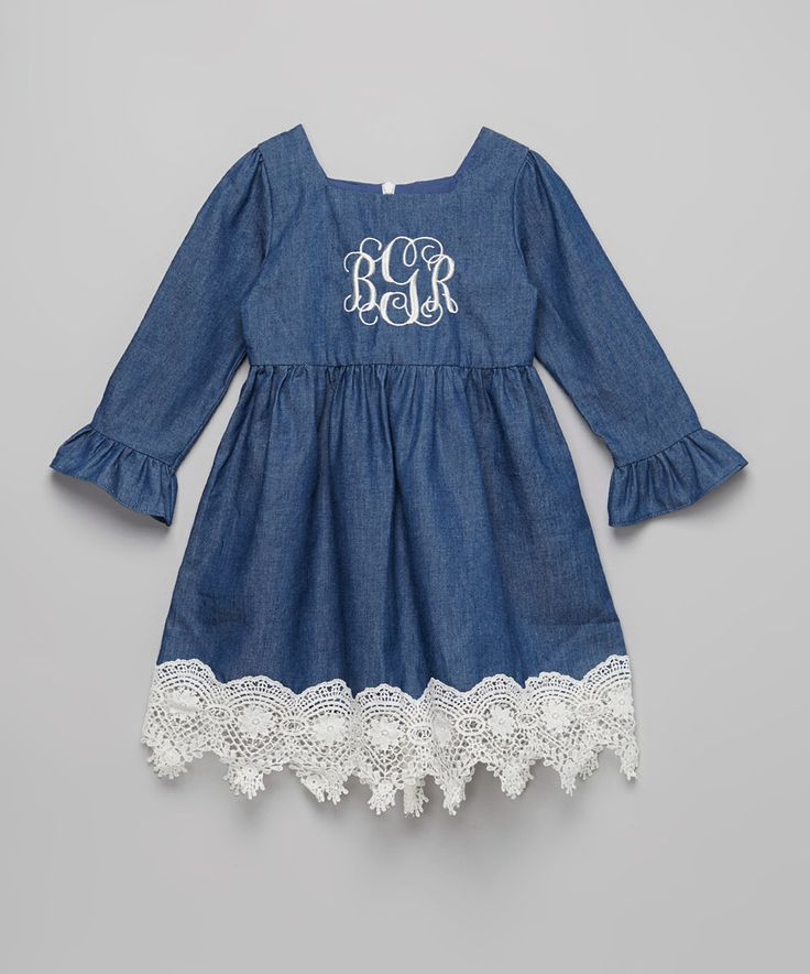 Another great find on #zulily! Smocked or Not Blue Vintage Lace Monogram Dress - Infant, Toddler & Girls by Smocked or Not #zulilyfinds