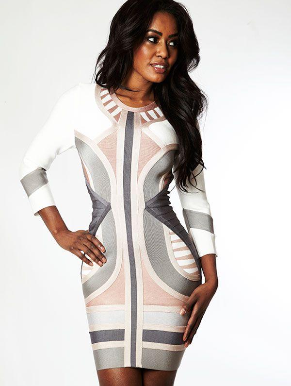 Clothing dresses 39 laurent 39 nude grey white mid sleeve bandage dress celeb boutique Celebrity style fashion boutique