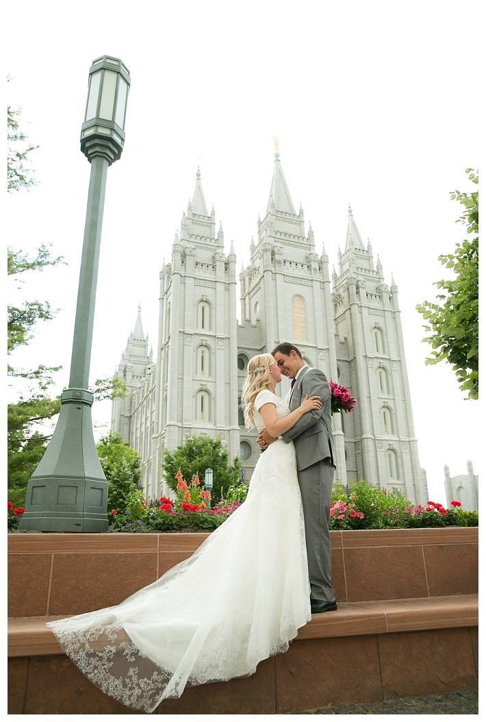 Bride and groom in front of the Salt Lake Temple | LDS Wedding | Salt Lake Temple | LatterDayBride | Gateway Bridal and Prom | Real Bride | Summer Wedding | LDSBrideBlog | Modest Wedding Dress