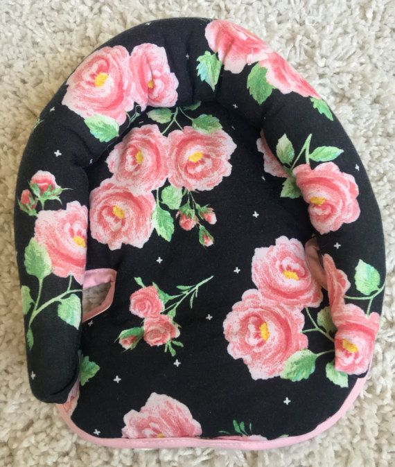 In Stock Knit Roses Infant Head Support Car Seat by ShopRitzyBaby
