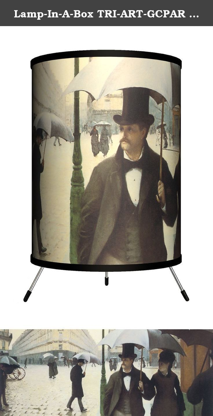 "Lamp-In-A-Box TRI-ART-GCPAR Art - Gustave Caillebotte ""Paris Street, Rainy Day"" Tripod Lamp. Lamp-In-A-Box makes fun and affordable lamps that are totally relevant to everyone's lifestyle. With an extensive design library, Lamp-In-A-Box is proud to offer any and every one a great gift - the gift of light. The only lamp that adults, teenagers, and children alike are raving about!."