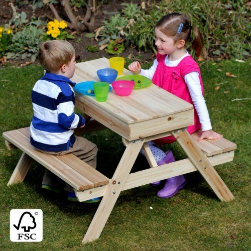 Outdoor Kids Wooden Picnic Table U0026 Sandpit, Http://www.amazon.