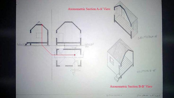 Lujain Ghannam لوحة6: اسقاطات عمودية وقطاعات اكسنومترية لبيت بسقف مائل باربع طيات