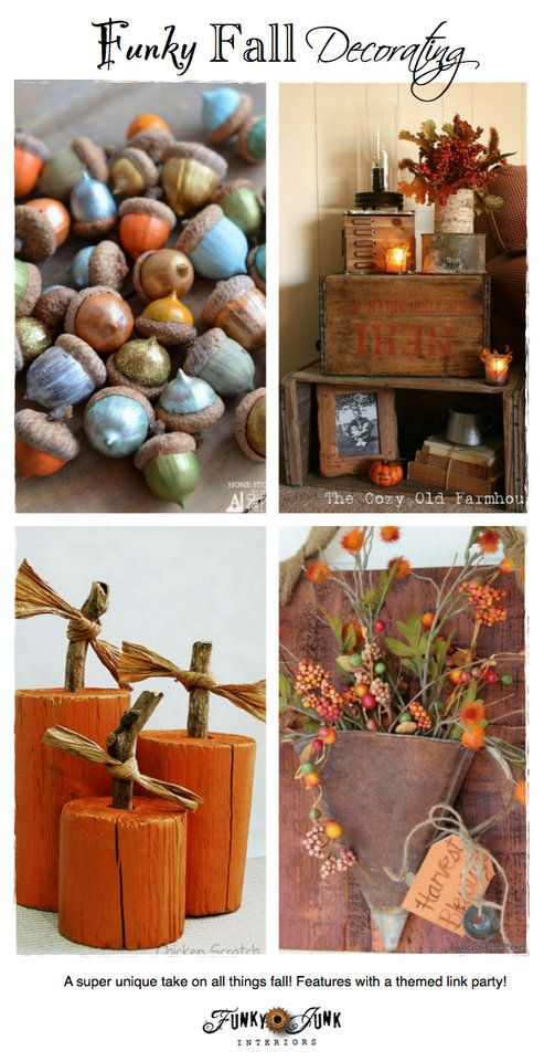 Party Junk 208 - Funky Fall Decorating - unique fall ideas with features and a themed link party via http://www.funkyjunkinteriors.net/
