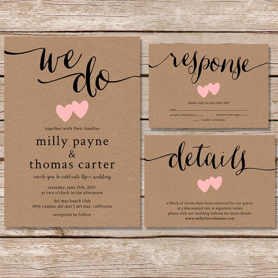 Rustic Wedding Invitation / kraft paper wedding invite set / modern vintage wedding invitation / printed cards