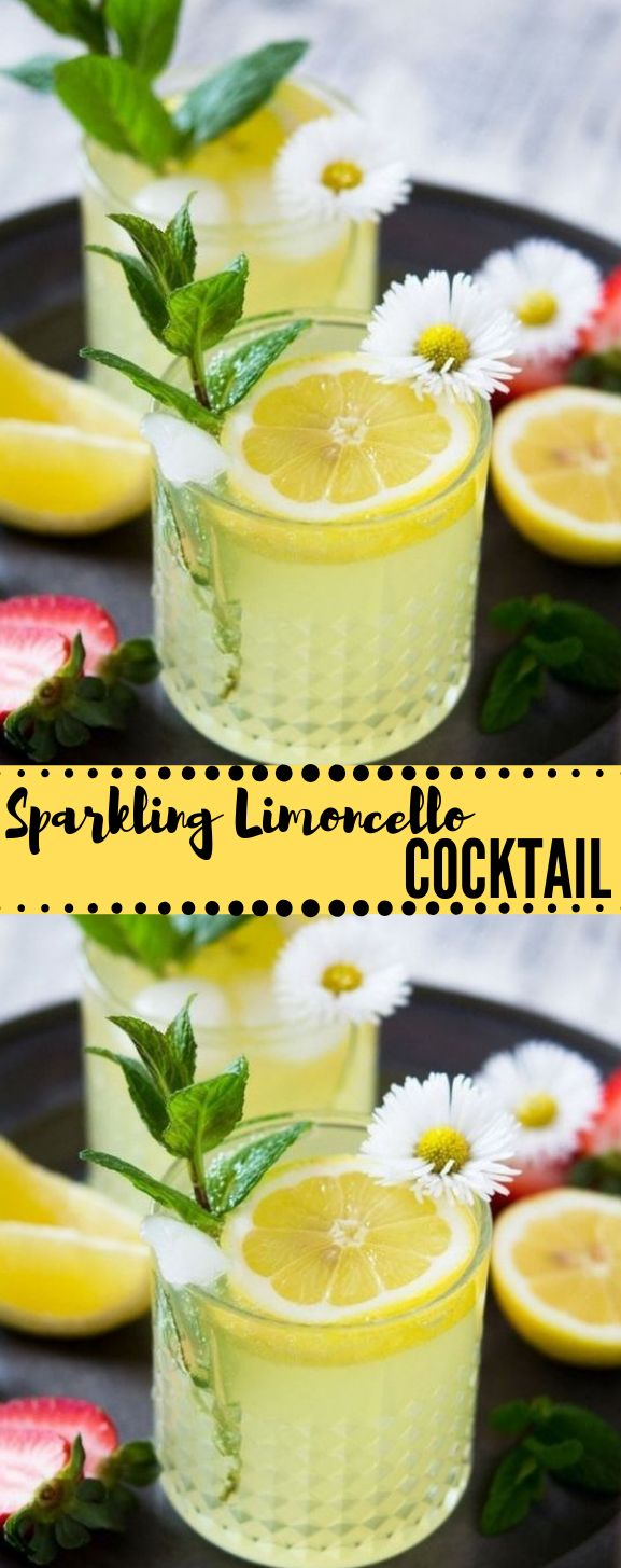 Sparkling Limoncello Cocktail #drink #cocktail #smoothie #party #healthy