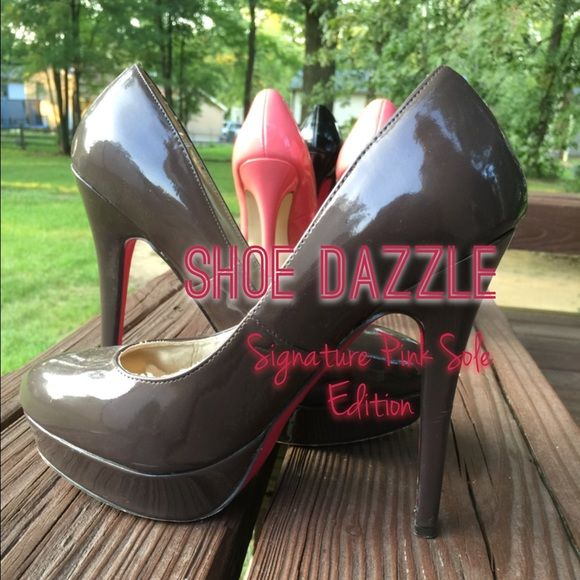 """Shoe Dazzle Pink Signature Sole Edition in brown Loved brown patent leather 5"""" heel with a pink sole to separate this shoe from all the rest. Normal wear on sole. Only flaws on the heels as pictured. Priced to sell.pink and black for sale as well✨ Shoe Dazzle Shoes"""