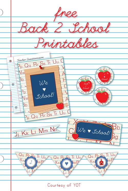 Back to School Printables - Yesterday on Tuesday #backtoschool