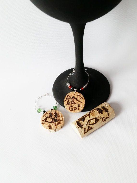 LET'S GO Adventure Wine Gift Set Wine Glass Charms by CorkyFriendz