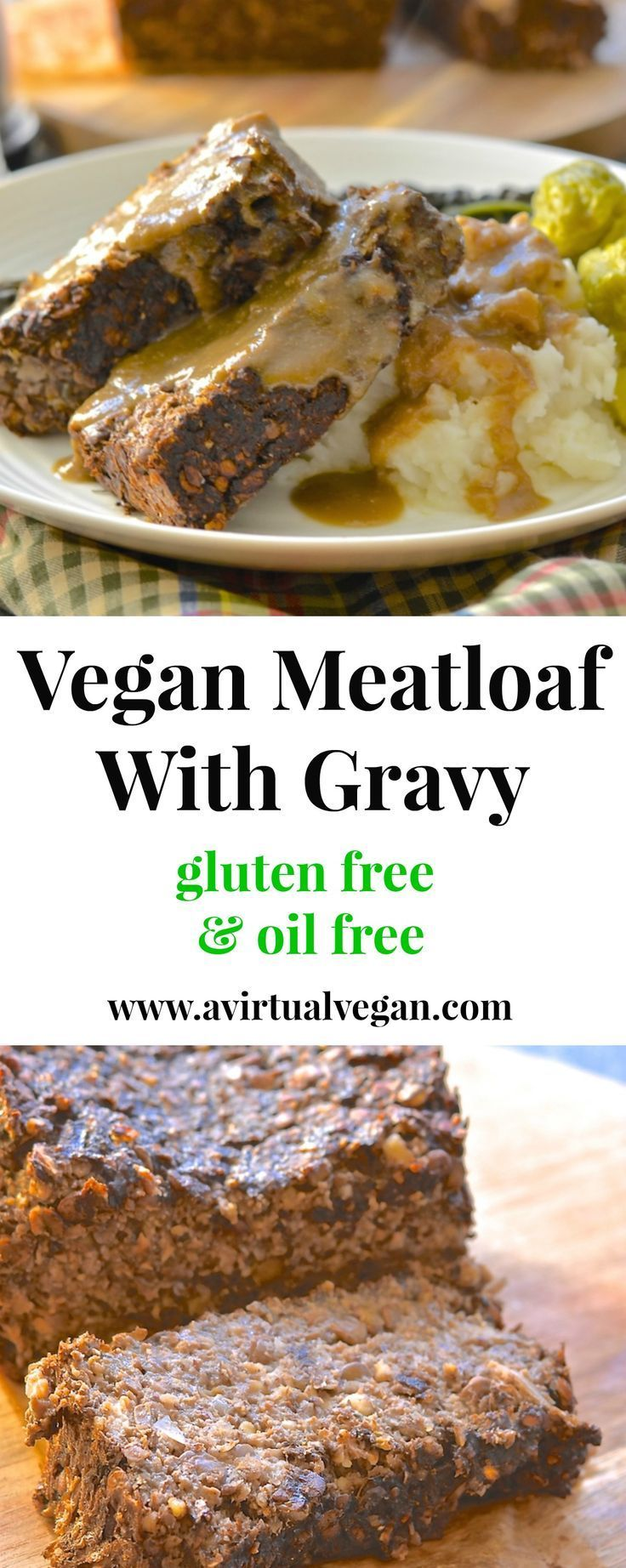 This vegan meatloaf is incredibly easy to make & is sure to please with its deep & savoury flavour. Serve sliced & smothered in rich, thick gravy for a truly satisfying meal! #veganmeatloaf #vegan #vegetarian