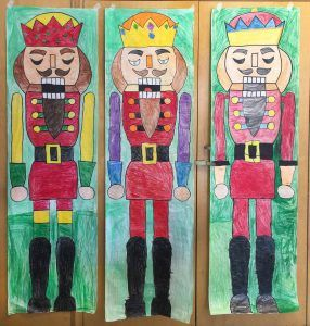 Giant Nutcracker drawings. Butcher paper and crayons. PDF tutorial. #nutcracker