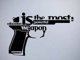 "I really, really really like the metaphorical design on this.  Using the words to form the barrel, trigger, etc. of the gun in addition to its message, ""Education is the most powerful weapon,"" really illustrates for me the creativity and catches my eye, since the design is based on a gun."