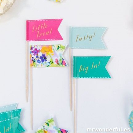 Surtido de mini banderines de papel - 24 ud. #party #decoration #mrwonderfulshop