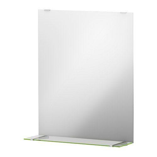 IKEA - FULLEN, Spiegel mit Ablage, , Die Kante bildet eine praktische Abstellfläche für Seifenschale, Zahnbecher usw.Spiegel mit Sicherheitsfolie auf der Rückseite, die das Gefahrenrisiko durch splitterndes Glas mindert.
