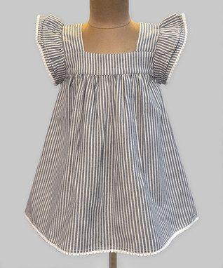 Chambray Stripe Angel-Sleeve Dress - Infant, Toddler & Girls