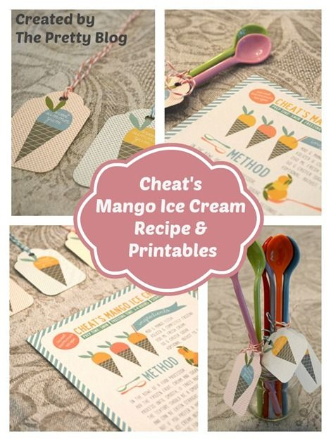 Cheat's Mango Ice Cream Recipe & Printables by The Pretty Blog #summer #printable