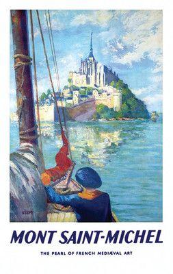MONT ST MICHEL VINTAGE TRAVEL POSTER France