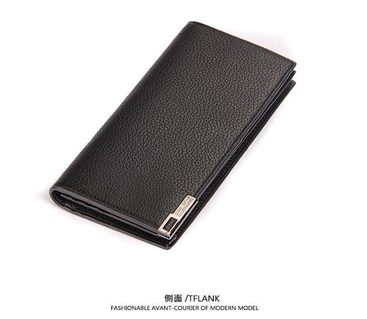 Genuine Leather Wallet Man Purse Business Card Holder Iron Edge New Luxury large capacity