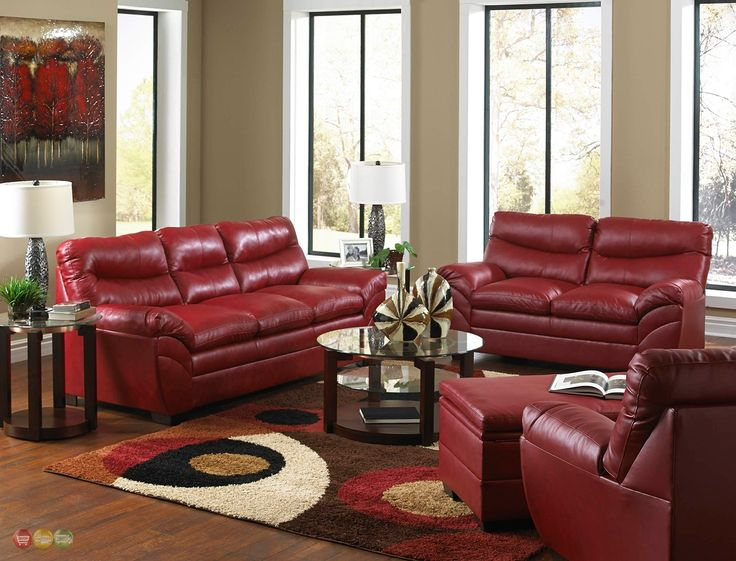 Red Leather Sofa Living Room Design