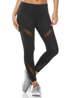 Pantalones De Entrenamiento De Panel De Malla De Capri De Mediana Cintura - Negro L