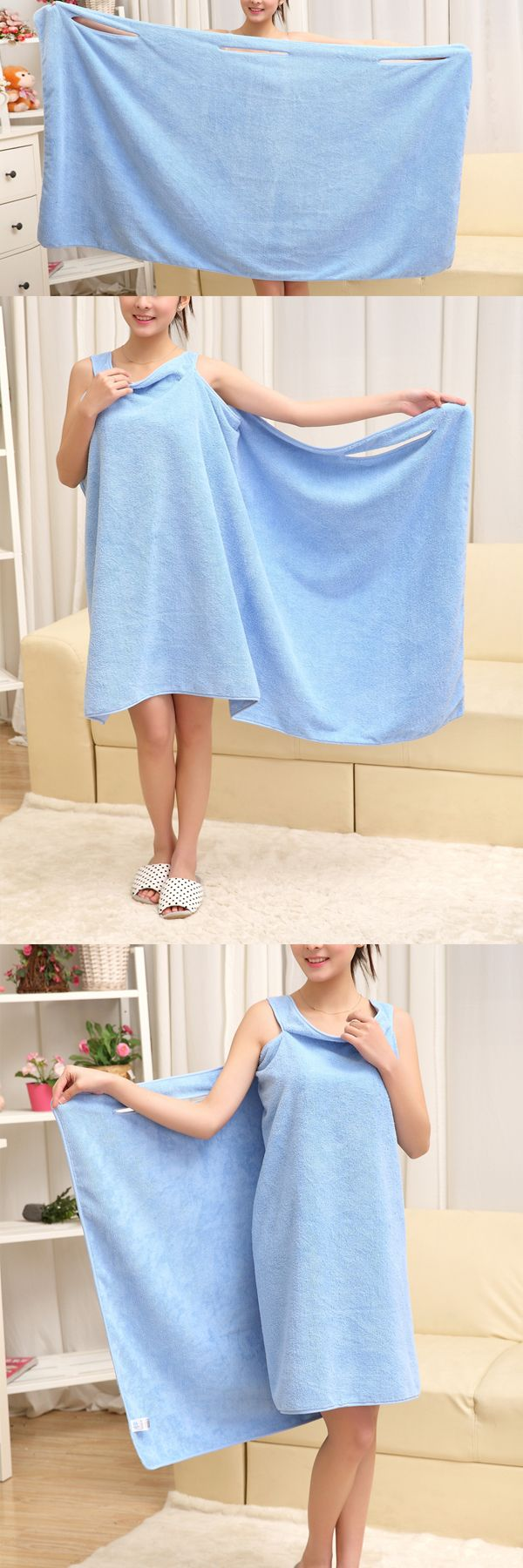 A towel can be a skirt Perfect for spas and dorm bathrooms This cozy warm plush fleece wrap robe
