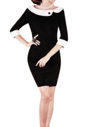 Purpura Erizo Womens Fitted Black Contrast Pencil Dress