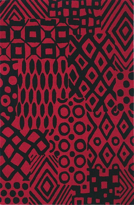 modernrugs.com Batik Red and Black Modern Rug