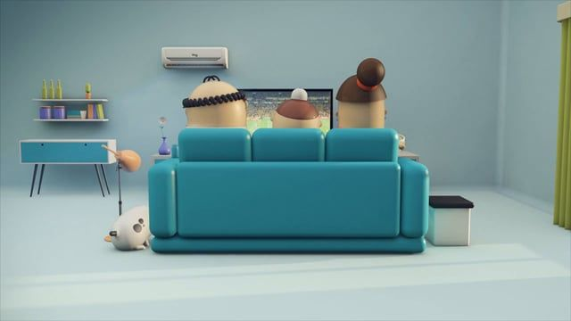 Soccer on TV is the perfect match for lots of things… And the Midea air-conditioners are part of it! The 3D minimalist animation gives this family a nice touch.