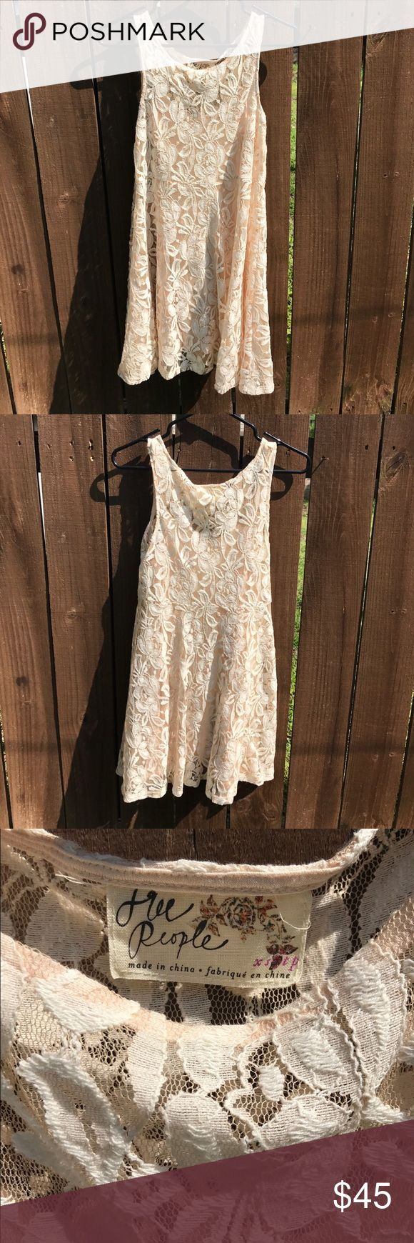 """Free People Lace Dress Gorgeous dress! Slip included. Like New. Only worn one time for my bridal shower 💍💐 29"""" in length, 16"""" pit to pit. Free People Dresses"""