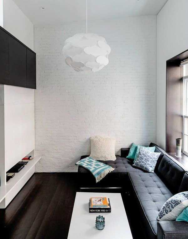 Compact joinery to hide the tv in this small lounge room.    Manhattan Microloft on the Upper West Side