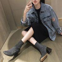 Европейский женщины зимние сапоги botas mujer блеск блестящий носок сапоги каблуки люксовый бренд дизайн женщина лодыжки Челси обувь XWN0875