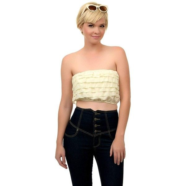 1970s Style Cream Ruffled Strapless Bandeau Crop Top ($15) ❤ liked on Polyvore featuring tops, yellow, flutter-sleeve top, strapless ruffle top, flounce tops, yellow bandeau top and bandeau tops